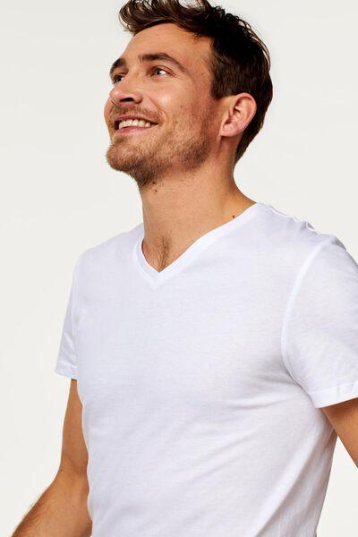 heren t-shirts V-hals - 2 stuks wit wit - 1000009946 - HEMA