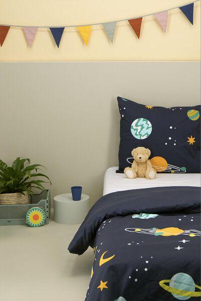 kinderdekbedovertrek - zacht katoen - 140 x 200 - donkerblauw planeten - 5740077 - HEMA