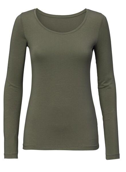 dames t-shirt - biologisch katoen groen - 1000005656 - HEMA