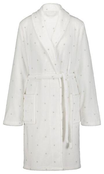 dames badjas fleece grijs S/M - 23422311 - HEMA