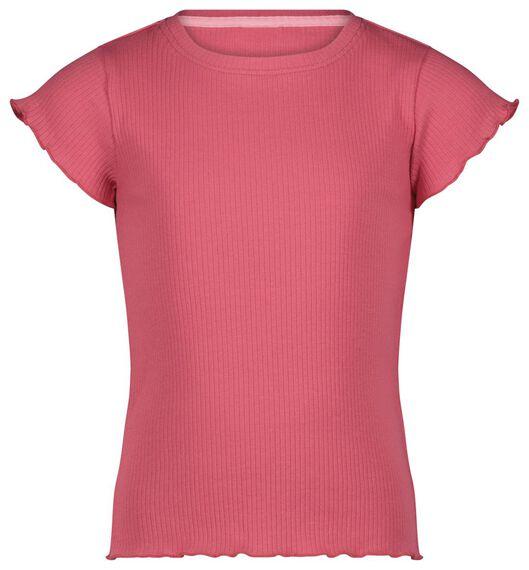 kinder t-shirt rib koraal koraal - 1000023588 - HEMA