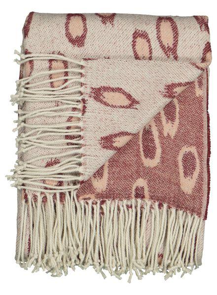 Dagaanbieding - plaid jacquard - 130 x 150 - roze luipaard dagelijkse koopjes