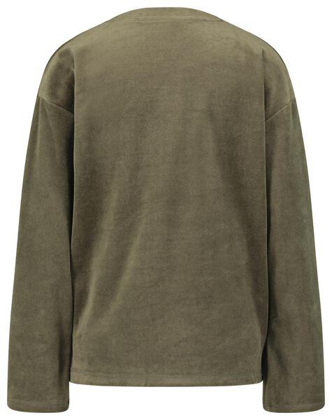 dames sweater velours olijf olijf - 1000021342 - HEMA