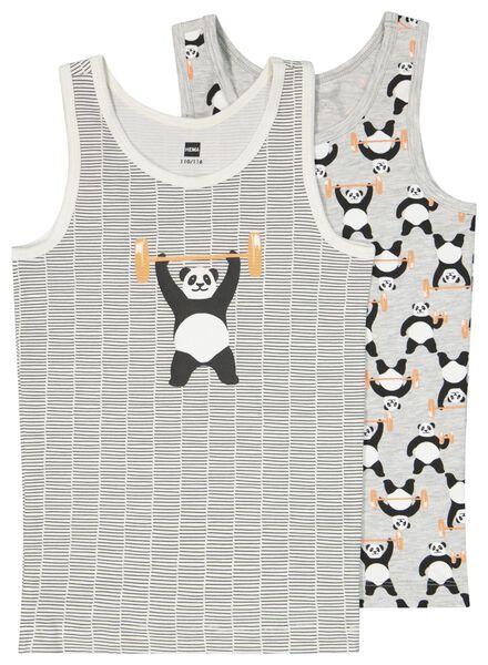 kinderhemden panda - 2 stuks grijsmelange grijsmelange - 1000023779 - HEMA