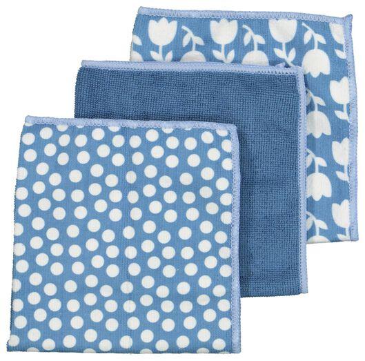 microvezeldoekjes 36x36 blauw - 3 stuks - 5410084 - HEMA