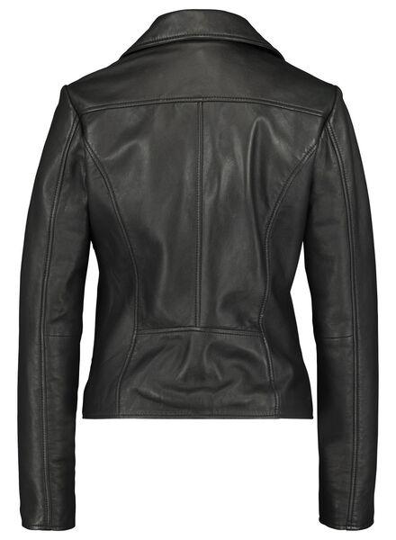 dames bikerjack - leer zwart zwart - 1000017061 - HEMA