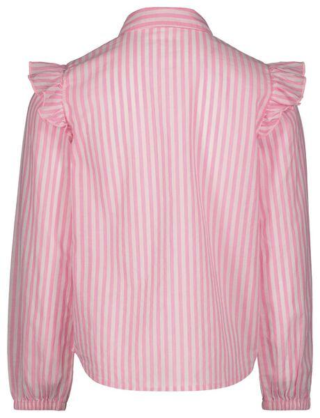 kinderblouse strepen fluor roze 158/164 - 30800481 - HEMA