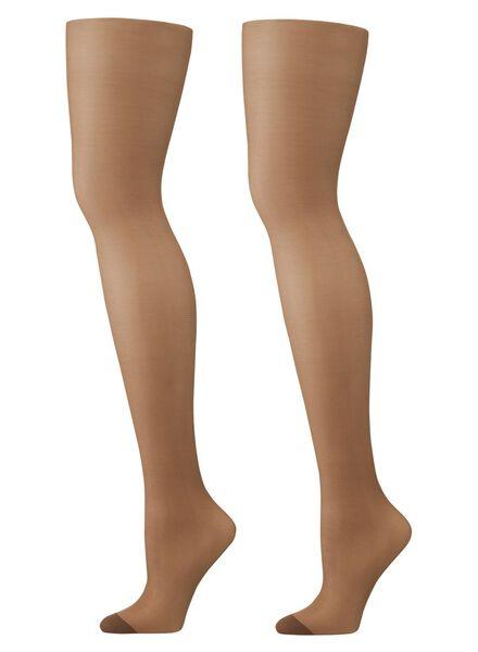2-pak ondersteunende panty's 15 denier bruin 40/42 - 4012337 - HEMA