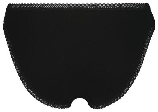 damesslips met kant 3 stuks zwart zwart - 1000022906 - HEMA
