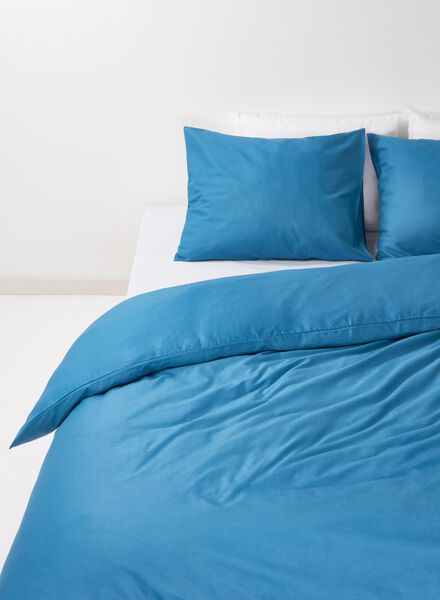 dekbedovertrek - zacht katoen - 200 x 200 cm - jeansblauw donkerdenim 200 x 200 - 5700132 - HEMA