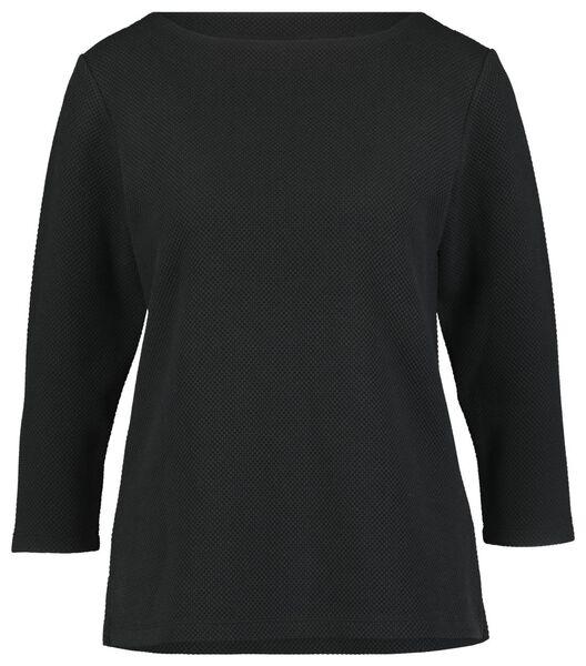 dames-shirt structuur zwart S - 36218076 - HEMA
