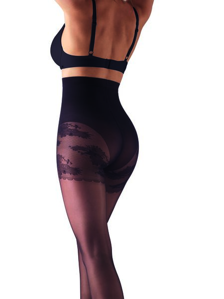 licht corrigerende glans panty met kanten broekje 20 denier zwart zwart - 1000017521 - HEMA