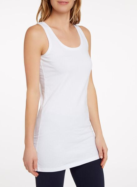 dames singlet extra lang wit XL - 36386065 - HEMA