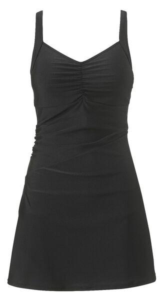 damesbadpak /zwemjurk corrigerend zwart M - 22350492 - HEMA