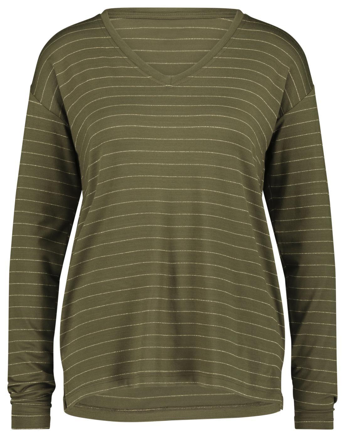 HEMA Dames T-shirt Glitter Olijf (olijf)