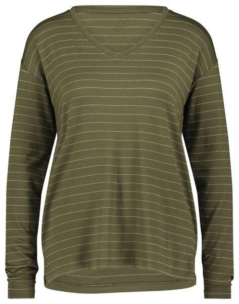 dames t-shirt glitter olijf olijf - 1000021650 - HEMA