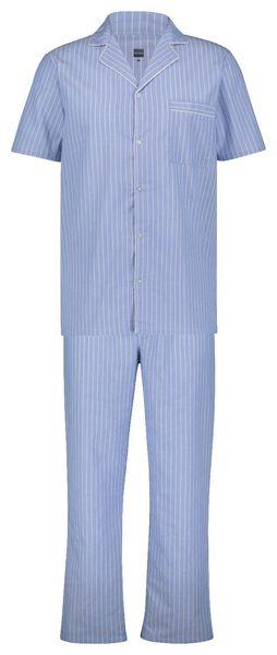 herenpyjama poplin streep lichtblauw lichtblauw - 1000022921 - HEMA