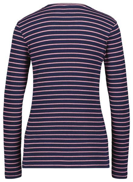 dames t-shirt rib strepen donkerblauw donkerblauw - 1000025290 - HEMA