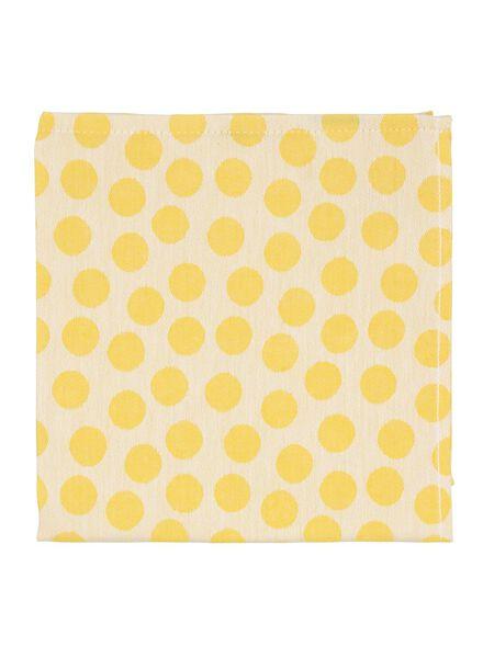 theedoek - 65 x 65 - katoen - geel stip - 5470002 - HEMA