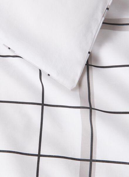 dekbedovertrek - zacht katoen - 240 x 220 cm - wit ruit zwart/wit 240 x 220 - 5750021 - HEMA