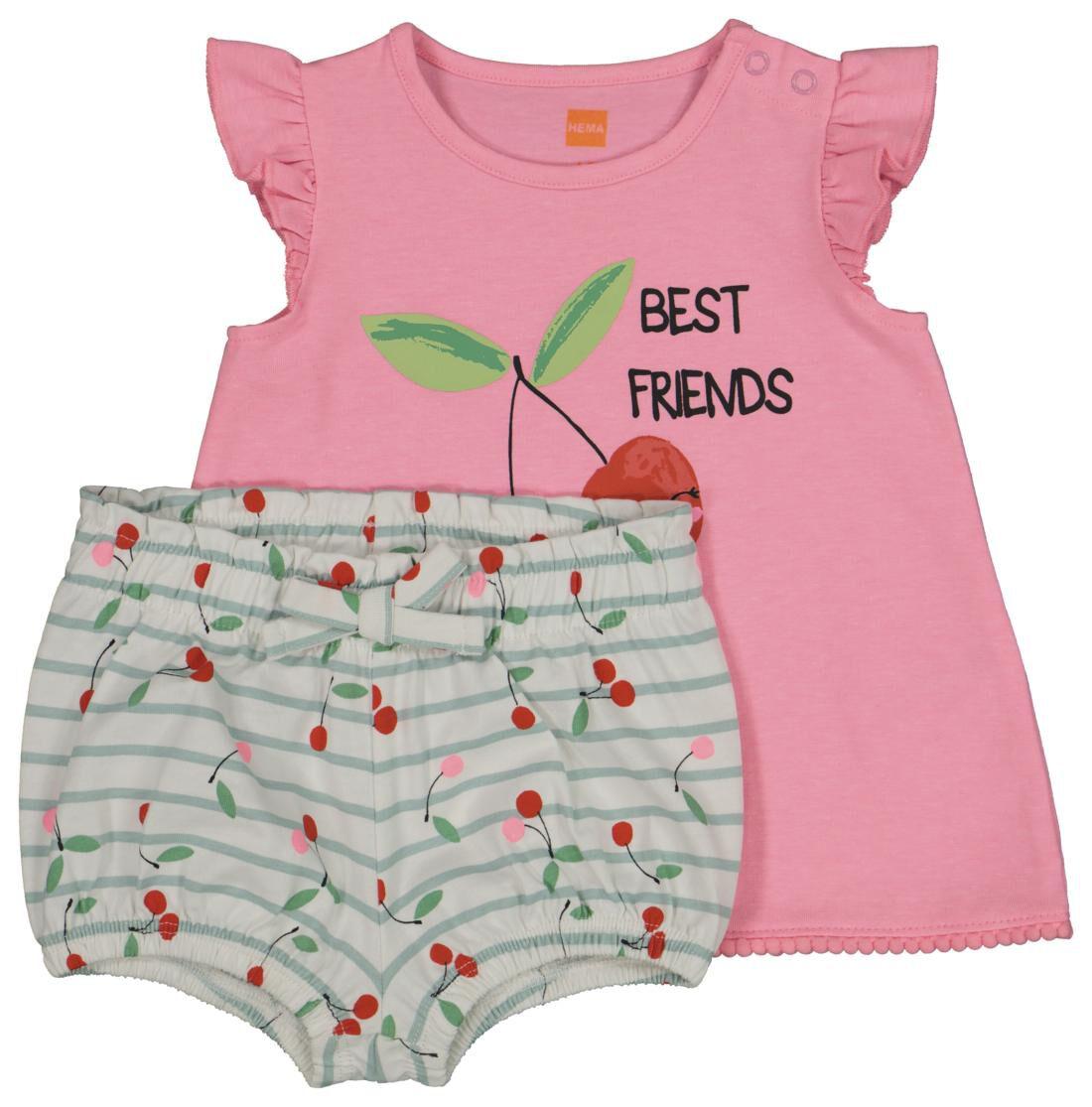 HEMA Baby T-shirt En Short Roze (roze)