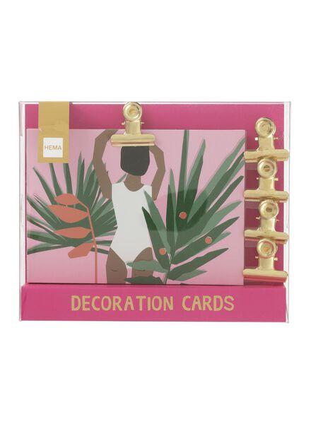 10-pak decoratiekaarten met magneetclips - 60700440 - HEMA