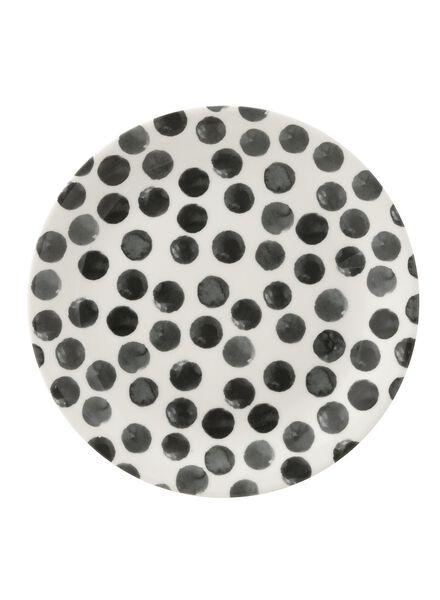 taartbord - 17 cm - Bergen - wit/zwart stip - 9670056 - HEMA