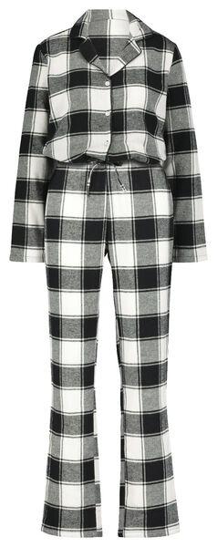 damespyjama flanel zwart/wit zwart/wit - 1000021716 - HEMA