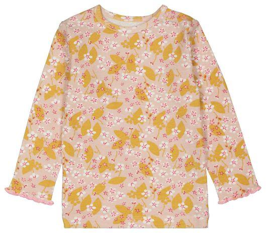 babypyjama bloemen rib katoen stretch roze roze - 1000023461 - HEMA
