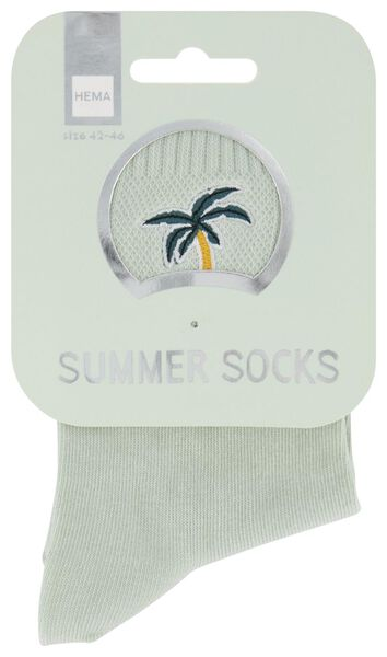 sokken maat 42-46 'summer' palmboom lichtgroen - 61140091 - HEMA