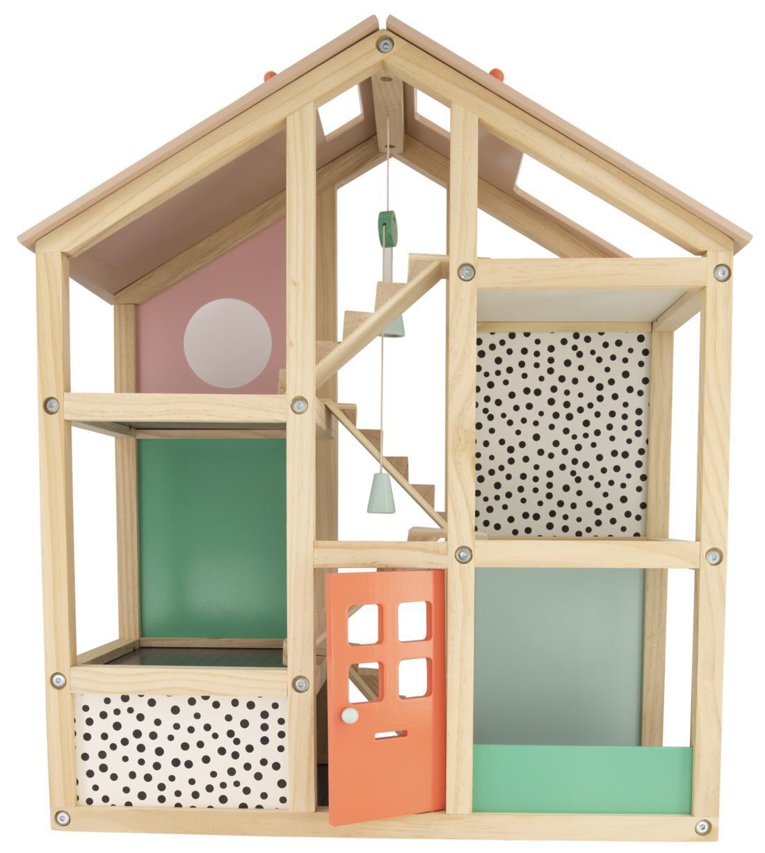 poppenhuis gemeubileerd hout 52x24x61.5 HEMA