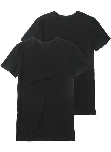 2-pak heren t-shirts zwart zwart - 1000009782 - HEMA