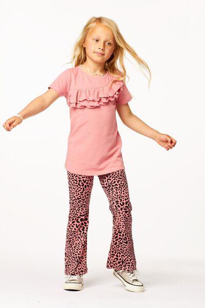 kinder t-shirt ruffle roze roze - 1000024694 - HEMA