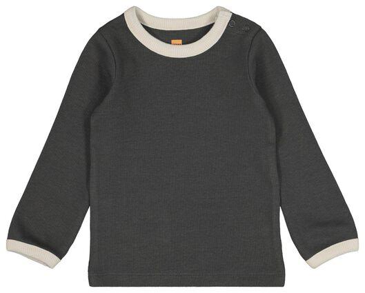 baby t-shirt rib donkergrijs donkergrijs - 1000021384 - HEMA