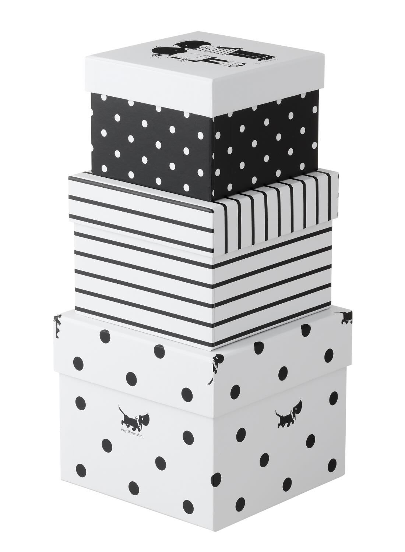 HEMA 3-pak Kartonnen Dozen (noir/blanc)
