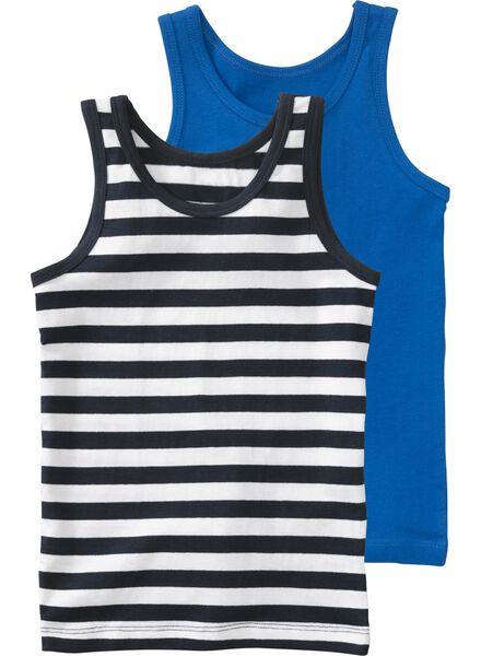 2-pak kinderhemden middenblauw 86/92 - 19226411 - HEMA