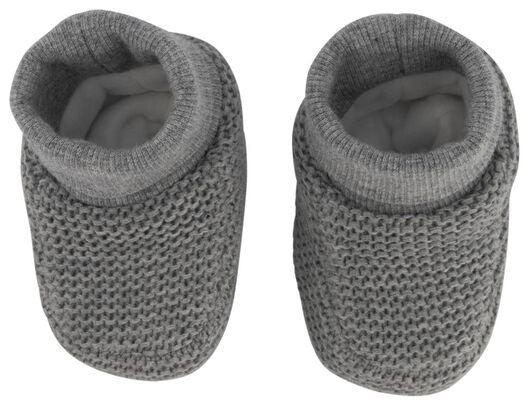 newborn slofjes gebreid grijsmelange grijsmelange - 1000020658 - HEMA