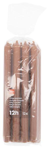 huishoudkaarsen - 28 cm - bruin - 12 stuks lichtbruin 2.2 x 29 - 13502409 - HEMA