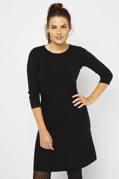 damesjurk gebreid zwart zwart - 1000021167 - HEMA