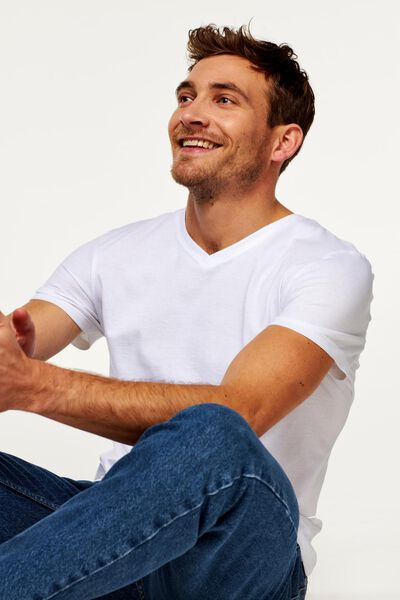 2-pak heren t-shirts V-hals - extra lang wit XL - 34277086 - HEMA