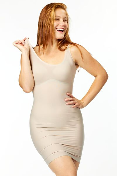 jurk second skin beige XL - 21500134 - HEMA