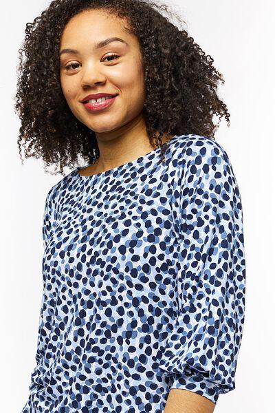 dames t-shirt stippen lichtblauw S - 36218066 - HEMA
