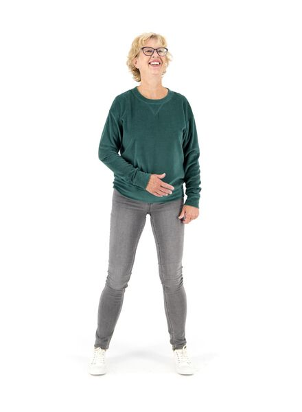 dames sweatshirt donkergroen XL - 36215814 - HEMA