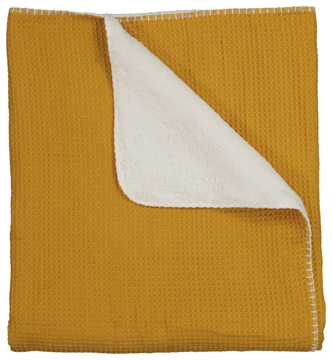HEMA Plaid Wafel 130x150 - Sherpa - Geel (geel)