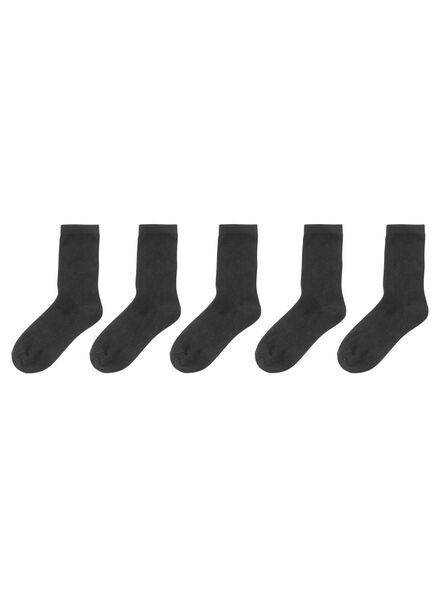 5-pak damessokken zwart 35/38 - 4230176 - HEMA