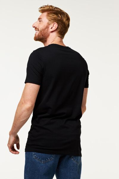heren t-shirt slim fit extra lang zwart S - 34276853 - HEMA