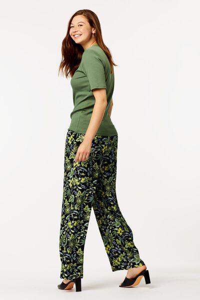 dames t-shirt rib groen M - 36204152 - HEMA