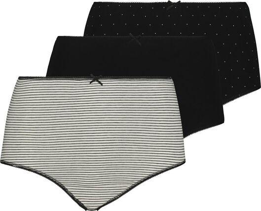 3-pak hoge damesslips zwart/wit zwart/wit - 1000019037 - HEMA