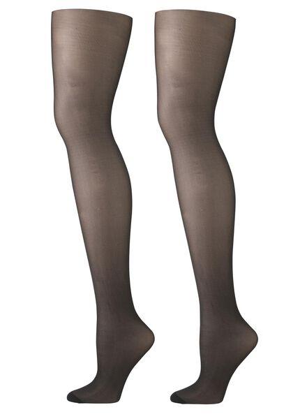 2-pak glans panty's 15 denier - zwart zwart zwart - 1000000758 - HEMA