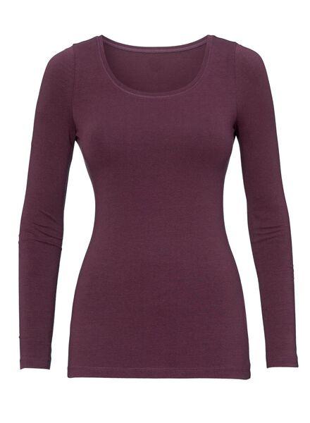 dames basic t-shirt donkerrood donkerrood - 1000005140 - HEMA